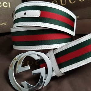 💗Authentic Gucci Web Belt White Green Red Stripes